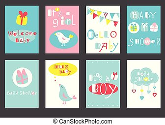Set of birthday banners with cute birds