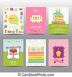 Set of Birthday Brochures and Cards - colorful layouts - in vector