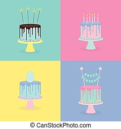 Set of birthday cakes with candles, sparklers