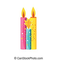 set of birthday candles isolated icon