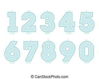 Set of birthday candles. Number shapes. Boy design