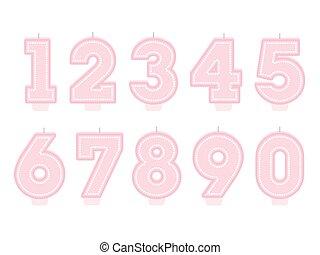 Set of birthday candles. Number shapes. Girl design