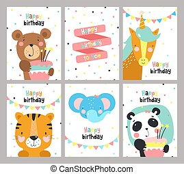 Set of birthday card with cute animals.