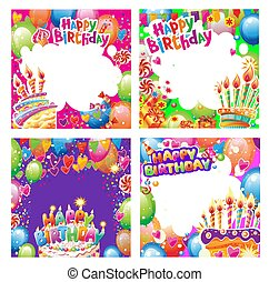 Set of Birthday cards with place for text