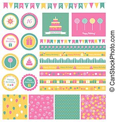 Set of birthday design elements.