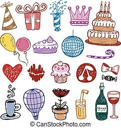 Set of Birthday doodles. Vector illustration.