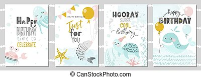 Set of Birthday greeting cards and party invitation templates with cute crab, octopus, fish, turtle and whale. Vector illustration.