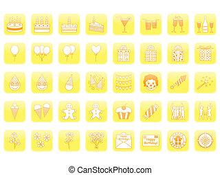 set of birthday icons