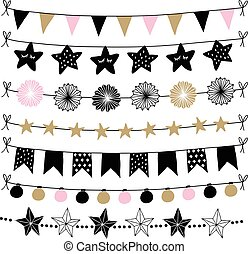 set of birthday new year decorative borders strings garlands brushes party