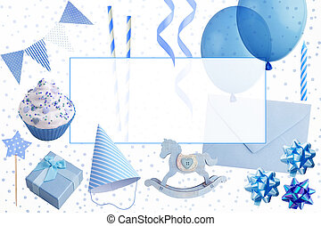 Set of birthday party elements isolated on white