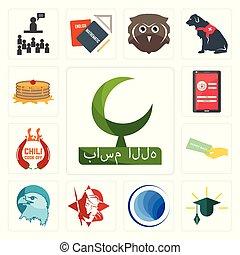 Set of bismillah, education, globe, spartan, eagle head, money back guarantee, chili cook off, login screen, pancake icons