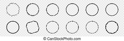 Set of Black Abstract Grunge Circle Shapes and Banners