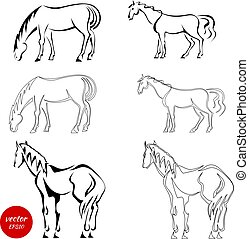 Set of black abstract horses on a white background. An image of horses in various poses. Vector illustration