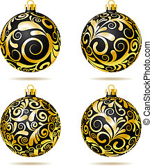 Set of Black and gold Christmas balls