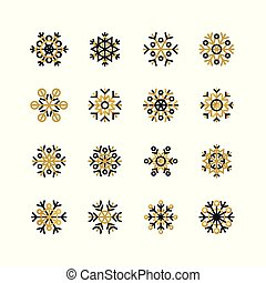 Set of black and golden snowflakes on white background. New Year and Christmas holidays design elements