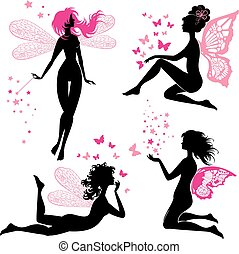 Set of black and pink silhouette fairy girls with butterflies and stars, isolated on white background. Fairytale design elements.