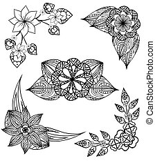 Set of black and white angular design elements doodle flowers and leaves. Vector elements for invitations, greeting cards, and your design ideas