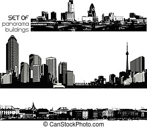 Set of black and white cityscapes with skyscrapers.