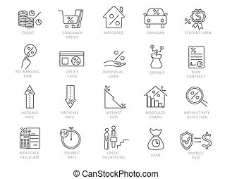 Set of black and white credit and financial icons - Large ...