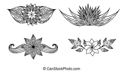 Set of black and white design elements with doodle flowers and leaves. Vector elements for invitations, greeting cards, and your design ideas