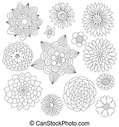 Set of black and white doodle flowe