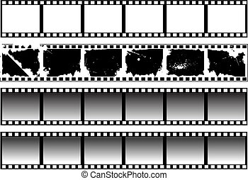 Set of black-and-white filmstrips