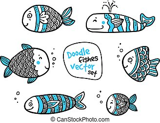 Set of black and white fishes in doodle ink style