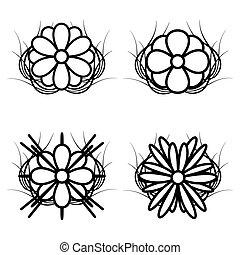 Set Of Black And White Flowers Vector Illustration
