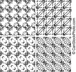 Set of black and white geometric seamless patterns. Vector
