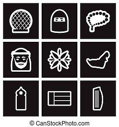 set of black and white icons Arab Emirates