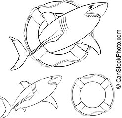Set of black and white illustrations shark in the lifeline. Isolated vector objects.