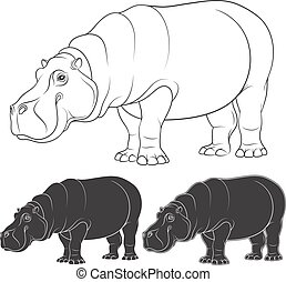Set of black and white illustrations with a hippopotamus. Isolated vector objects.