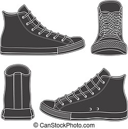 Set of black and white illustrations with sneakers, gumshoes. Isolated vector objects.