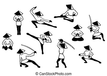Set of black and white japenise warriors images in action. EPS10 vector illustration