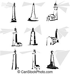 Set of simple vector illustrations: stylized black and white lighthouse icons.