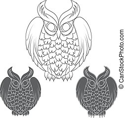 Set of black and white owl images