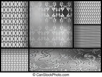 set of black and white patterns