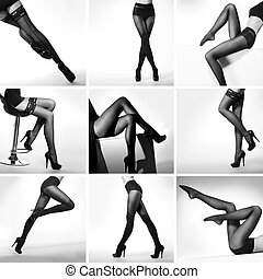Set of black and white pictures with sexy female legs in...