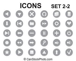 black and white round icons