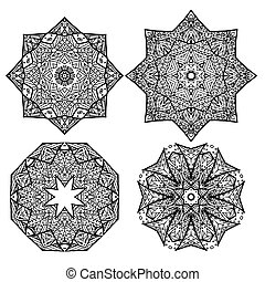 Set of black and white round mandalas snowflakes