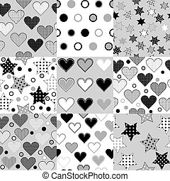 Set of black and white seamless background patterns with stars,