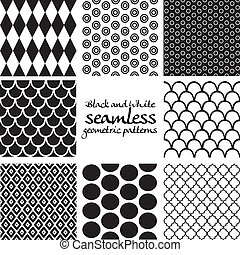 Set of black and white seamless geometric patterns 5