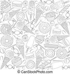 Set of black and white seamless patterns with sweets