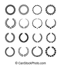 Set of black and white silhouette circular laurel foliate and wheat wreaths depicting.