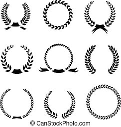 Set of black and white silhouette circular laurel  foliate  wheat wreaths depicting an award  achievement  heraldry  nobility  the classics  vector illustration?