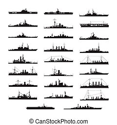 Set of black and white silhouette ship and boats icons...