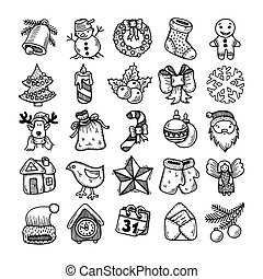 sketch drawing christmas doodle icons - Set of black and...