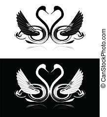 Set of black and white swans - Collection of black and white...