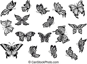 Set of black and white vector butterflies - Black and white...
