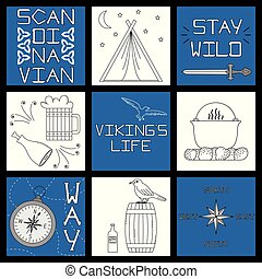 Set of black-and-white vector illustrations for the design of Viking's life.